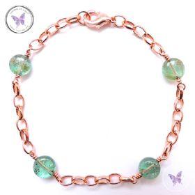 Green Apatite Coin & Copper Chain Bracelet